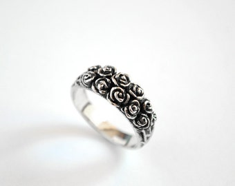 SALE -20% Sterling Silver Engagement Ring Big Roses | Silver Flower Ring | Silver Rose Ring