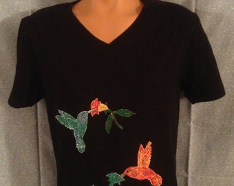Two Humming Birds T Shirt (Hand Painted)