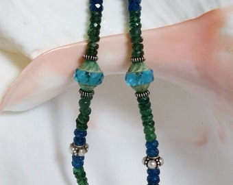 Green and Neon Faceted Apatite Rondells with Vintage glass beads