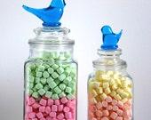 Un son STRIDENT, pots d'apothicaire, lot de 2 barre chocolatée Jars, Bluebird de bonheur Figurines, conteneurs de Terrarium, Shabby Chic Wedding, Candy piédestaux