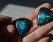 Black spectrolite Finland , blue neon- 2pcs