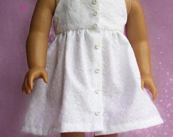 White Eyelet Halter Dress for 18 inch doll