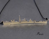When in Paris Minimal Statement Necklace Paris Skyline Handcrafted Main Landmarks Eiffel Tower Love City of Light Romantic Gift for Her