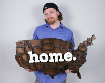 United States of America USA home. Rough Cut Mill Wood Wall Hanging