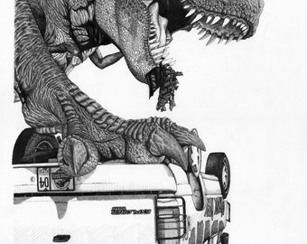 Jurassic Park - Pen and Ink Drawing Print