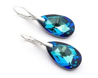 Bermuda Blue Swarovski Earrings Crystal Earrings Swarovski Drop Earrings Sterling Silver Earrings Sterling Silver Jewelry Turquoise Earrings