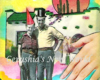 Happy Desert Couple #4 - ACEO,  Watercolor, Collage, Mixed Media,  Print