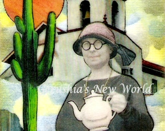 Afternoon Tea in Tucson - ACEO,  Watercolor, Collage, Mixed Media, Miniature Art, Print