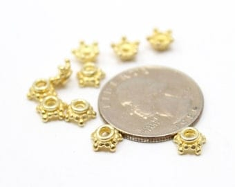 24k Vermeil over Sterling Silver 925 Bead Caps for Jewelry 7mm 10pcs