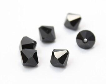 10mm Bicones Jet Black Crystals 10mm 6pcs