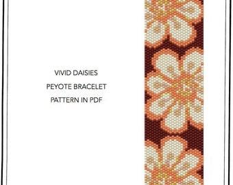 Peyote Pattern for bracelet - Vivid daisies peyote bracelet cuff pattern in PDF - instant download