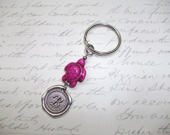 Wax seal initial / monogram keychain with howlite turtle