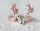 Sterling silver deer with flower ring, rose gold deer ring, silver ring, deer ring, flower ring, statement ring, jewelry, summer, gift ideas