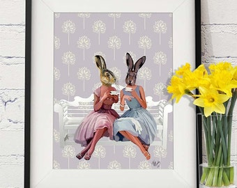 Rabbit Chat  Art Print, Wall Decor, Wall Art, Wall Hanging, Rabbit Print