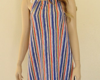 Vintage striped tent dress 70s 1970s small medium colorful rainbow bright  tank sundress sun summer sleeveless