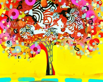 Tree art Calipso Fusion Print, Painted Trees, Abstract Tree Art, Original Tree Art, Whimsical Tree Painting, Tree Print, Abstract Art