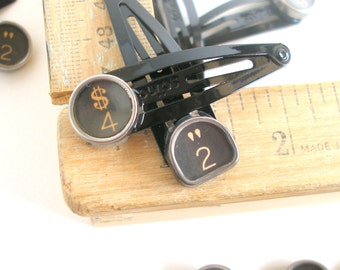 Barrettes Pair, Vintage Typewriter Keys, 13.00, Lucky Numbers 2 and 4, Black Clip Hair Barrettes, Hair Jewelry