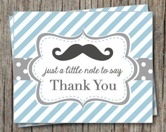 Printable Mustache Thank You Card Powder Blue Grey Instant Download Mustache Baby Shower Thank You Cards Little Man Baby Shower - 009