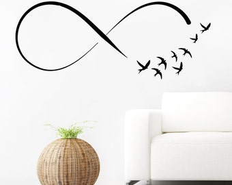 Infinity Symbol Wall Decal Vinyl Sticker Decals Home Decor Mural Infinity Loop Vinyl Flock of Birds Flying Wall Decals Bedroom SV6159