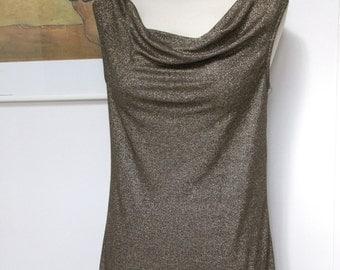 Gold Lurex Dress, Party Dress, Golden Metallic Dress, Shift Dress, Drape Neck Dress, Above Knee, Shimmer Dress - Size L