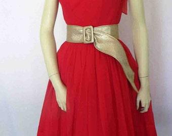 1960 Dress Red Chiffon Dress Full Skirt Chiffon Dress Special Occasion Dress Small XS