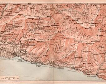 1916 Province of Genoa, Italy Antique Map, Vintage Lithograph Print, Genova Italia, Quarto dei Mille, Quinto al Mare, Nervi Bogliasco, Sori