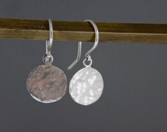 Sterling silver, dangle earrings. Hammered disk, handmade drop earrings.Everyday wear.