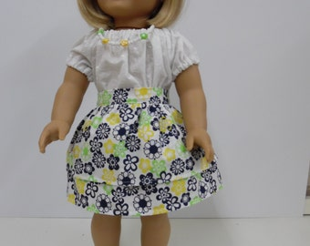 American Girl Skirt, Peasant Blouse and Necklace