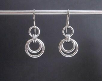 Stainless Steel Jewelry, Stainless Steel Earrings, Urban Jewelry, Hypoallergenic Earrings, Minimalist Dangle Earrings, Metal Circle Earrings