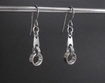 Stainless Steel Earrings, Industrial Metal Earrings Hypoallergenic Earrings Small Metal Dangle Earrings Stainless Steel Jewelry Edgy Jewelry