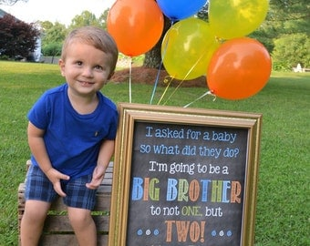 Printable Chalkboard Twins Pregnancy Reveal // Pregnancy Announcement // Big Brother