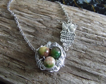 SALE! Silver Wire Wrapped Bird Nest Necklace with Green Beads