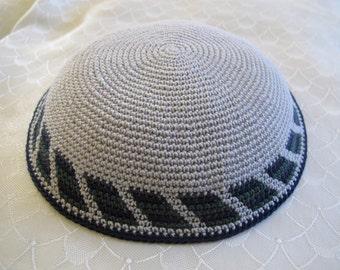 Gray Kippah. Handmade Crochet Kippah. Hand knitting Yarmulke. Gray Yarn of Cotton with Colorful design at the edge. For Everyday or Shabbat