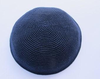 Blue Kippah. Handmade Crochet Kippah. Hand knitting Yarmulke. Blue Yarn of Cotton. Plain Dark Blue Kippah. Everyday Kippah. Blue Yarmulke.