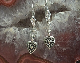 Heart Earrings - Handmade Artisan Fine Silver and Sterling Silver