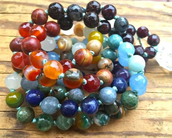 Chakra Mala Beads,  7 Chakra Mala, Natural Stone Healing Mala Necklace, 108 Beads, Yoga Meditation Beads, Mantra Beads, Spiritual Jewelry
