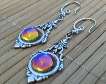 In Australia - Art Deco inspired silver plated drop earrings