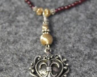 SALE  Garnet necklace with Sterling Fleur De Lis Heart