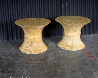 McGuire Sheaf Wheat Rattan End Tables(sold as a pair)