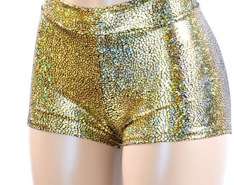 Midrise Gold on Black Shattered Glass Holographic Metallic Spandex Mid Rise Booty Shorts   150982