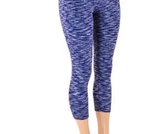 Navy Space Dyed Soft Knit High Waist Capri Leggings -151181