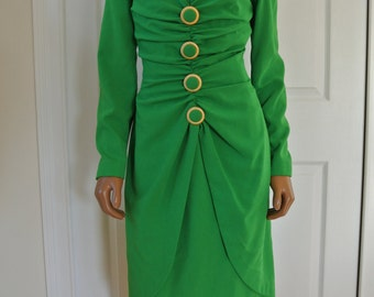 1990s Ann Lawrence Today Kelly Green Sheath Shift Dress Neiman Marcus/ 6/M