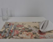 Reversible Placemats Floral and Pink Striped Set of Two