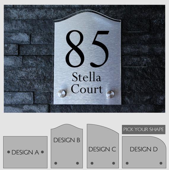 modern house number sign plaque street designer door aluminium. Black Bedroom Furniture Sets. Home Design Ideas