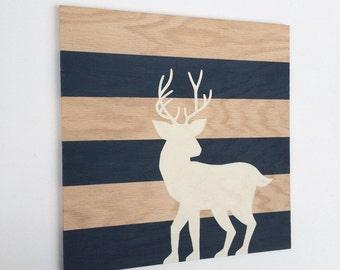 Hand Painted Woodland Nursery Art - Woodland Nursery Decor - Nursery Wall Art - Woodland Decor - Woodland Baby Shower Gift - Deer Art