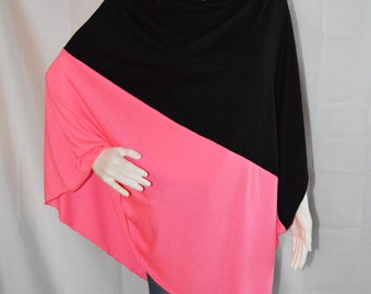Color block Poncho/ Nursing Cover / Lightweight Shawl / One shoulder Tunic / Lightweight Shawl / Baby Cover / Maternity Top