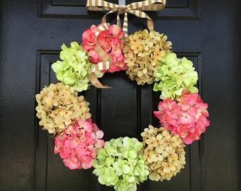 Summer hydrangea wreath for door, hydrangea wreath, spring wreath, wreath for spring, spring decor, wreath for summer