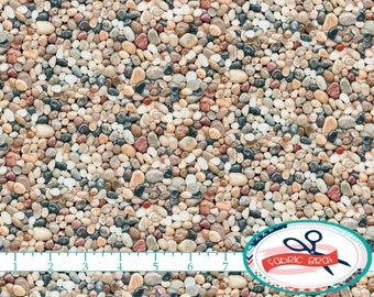 ROCKS & PEBBLES Fabric by the Yard, Fat Quarter Landscape Fabric Rock Fabric Gravel Fabric 100% Cotton Fabric Quilting Fabric Yardage t3-8