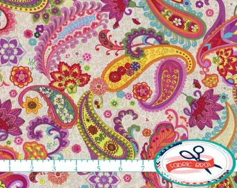 BRIGHT PAISLEY Fabric by the Yard, Fat Quarter Aqua Pink & Purple Fabric Quilting Fabric 100% Cotton Fabric Apparel Fabric Yardage t6-11