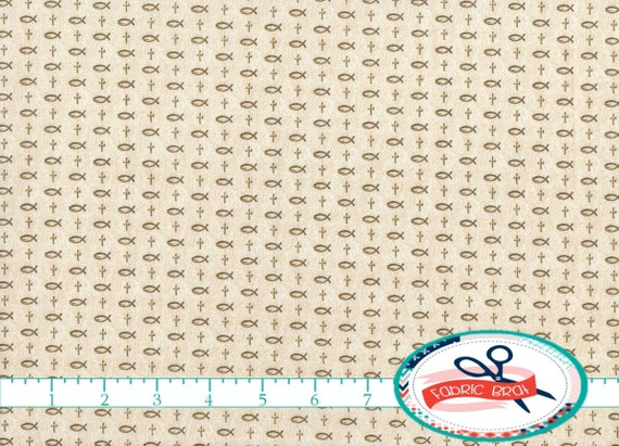 INSPIRATIONS CROSS Fabric by the Yard, Fat Quarter Cream Fabric ... : religious quilting fabric - Adamdwight.com